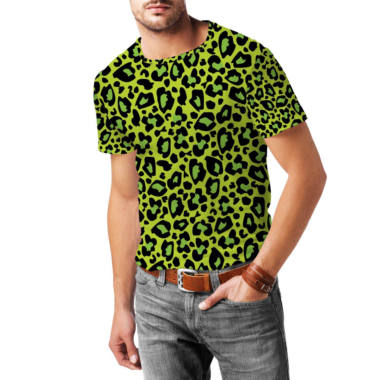 Leopard Print Bright Green Mens Sport Mesh T-Shirt