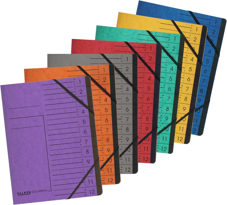 cartellina Colorspan con divisori 12 tasche 12 scomparti grau Falken