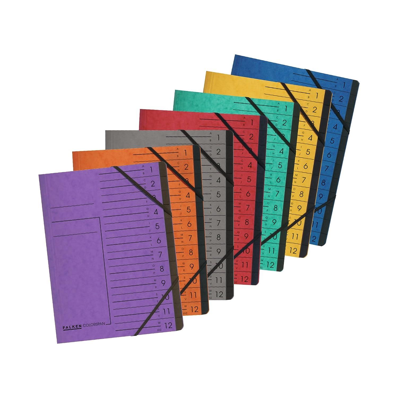 cartellina Colorspan con divisori 12 tasche 12 scomparti rot Falken