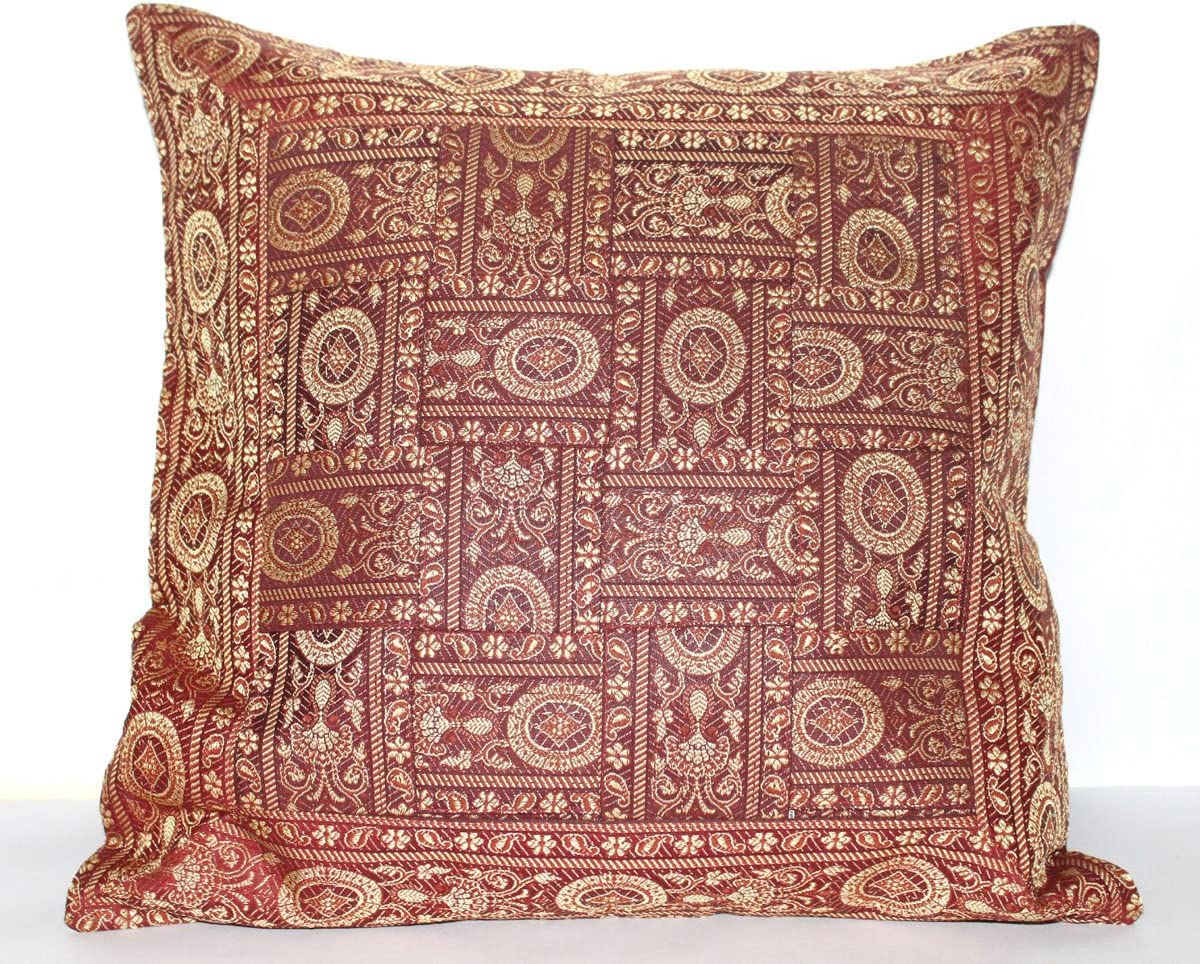 "Indian Cotton Decorative Round Zari Work 16X16/"" Sofa Cushion Pillow Cover New"