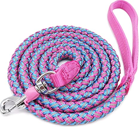 hudiemm0B Dog Leash Training Nylon Rope Slip Lead Strap Adjustable Traction Collar Pet Red