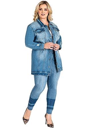 712833a00db Standards   Practices Plus Size Women s Light Wash Denim Oversized Jean  Jacket ...