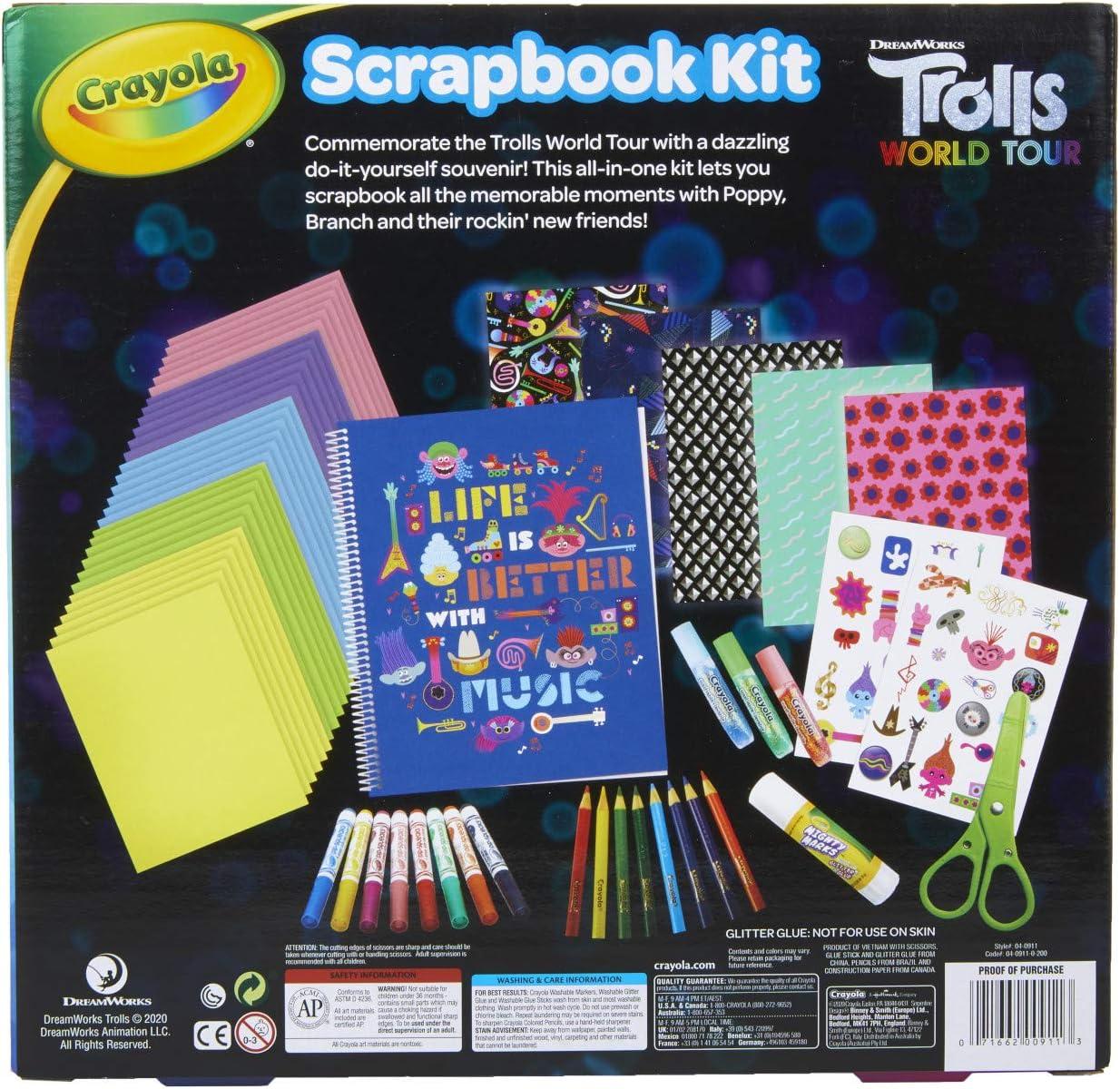 Over 60 Art Supplies 6 Gift for Kids Scrapbook Kit Trolls 2 Crayola Trolls World Tour 7 8 5