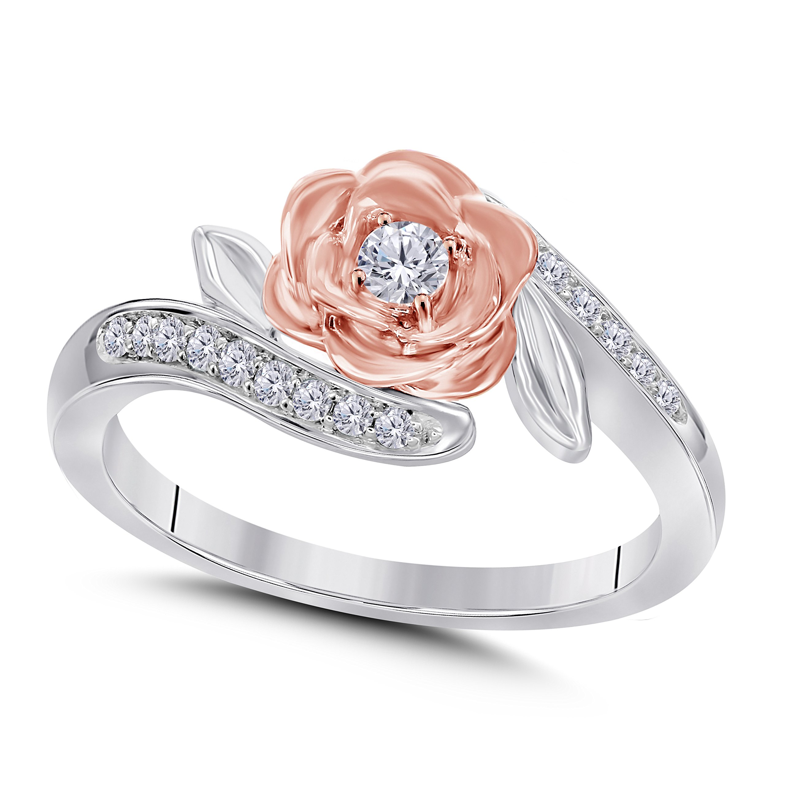 DreamJewels Belles 14K Rose and White Gold Plated White CZ Diamond Fashion Ring 1/4ctw (9) Alloy