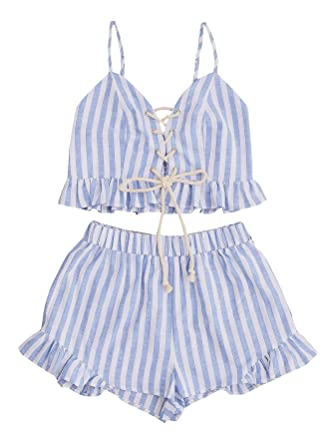 c49f1b7d0dee7e MAKEMECHIC Women s 2 Piece Outfit Summer Striped V Neck Crop Cami Top with  Shorts Blue XS