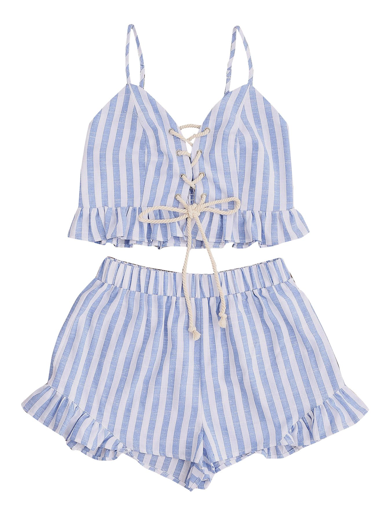 MakeMeChic Women's 2 Piece Outfit Summer Striped V Neck Crop Cami Top with Shorts Blue L