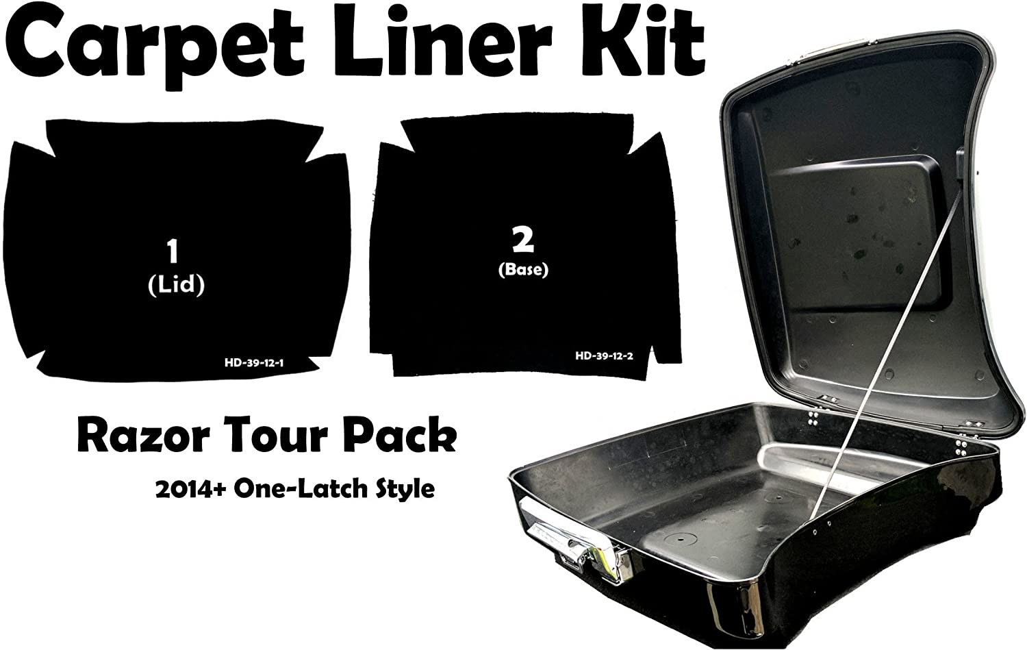 One Latch Style Harley-Davidson Razor Tour Pak Pack Graphite Grey Carpet Liner Kit for 2014