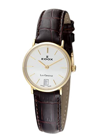 Edox Women's 26013 37J AID2 Les Genevez Gold PVD Brown Leather Watch
