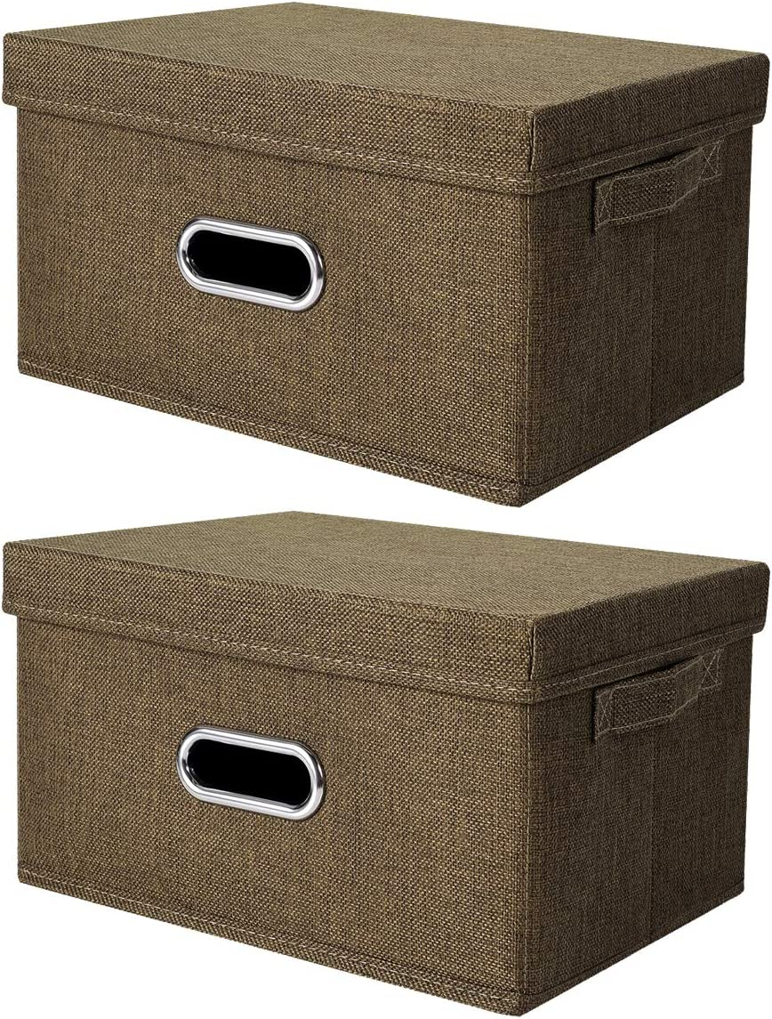 ANMINY 2 PCS Storage Boxes with Handles Removable Lids PP Plastic Board Foldable Lidded Cotton Linen Home Storage Cubes Bins Baskets Closet Clothes Toys Organizer Containers - Coffee, Large Size