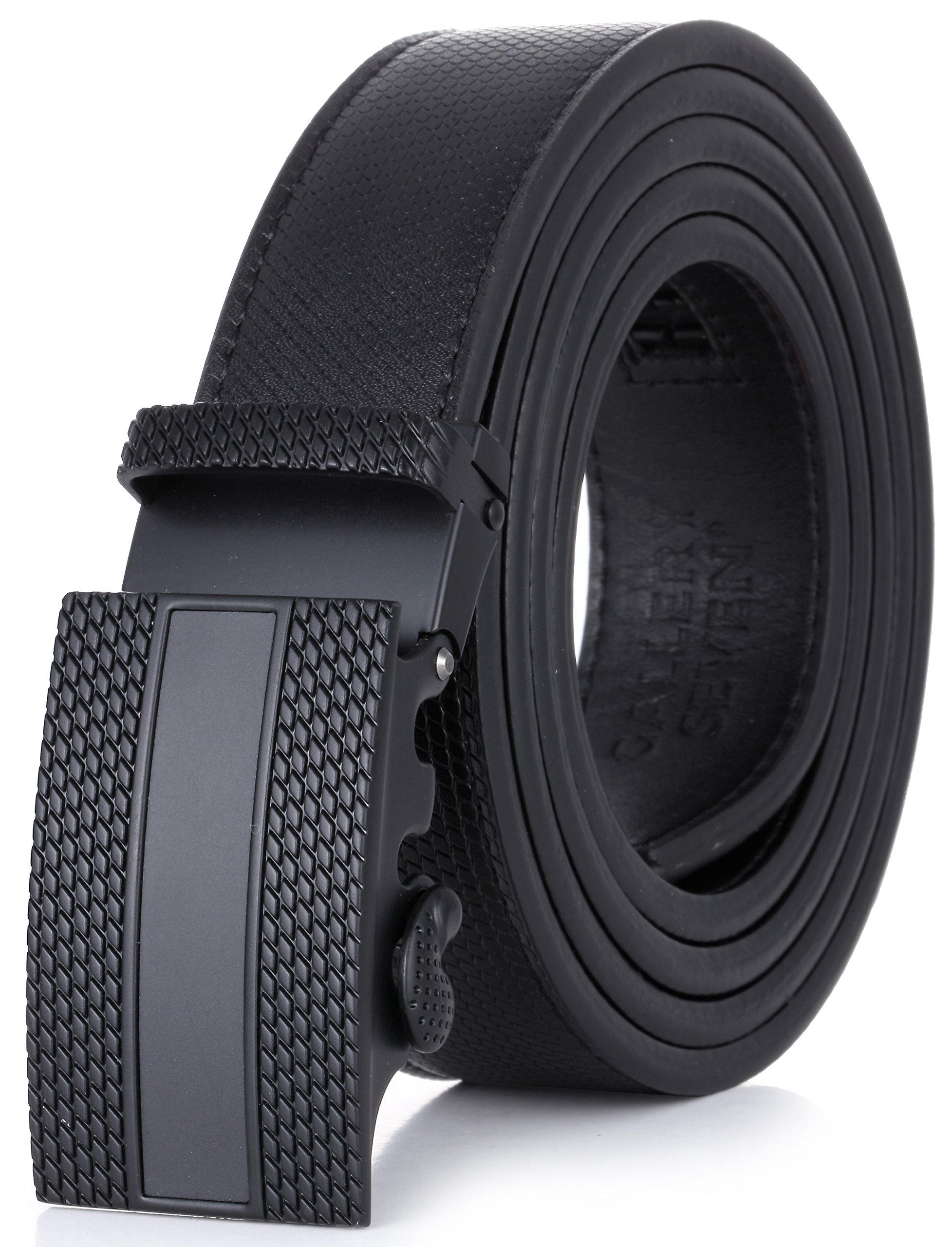 Gallery Seven Mens Leather Ratchet Belt - Adjustable Genuine Leather Dress Belt For Men - Casual Click Belt - In Gift Box - Black Style-1 - Medium Up To Waist 44''