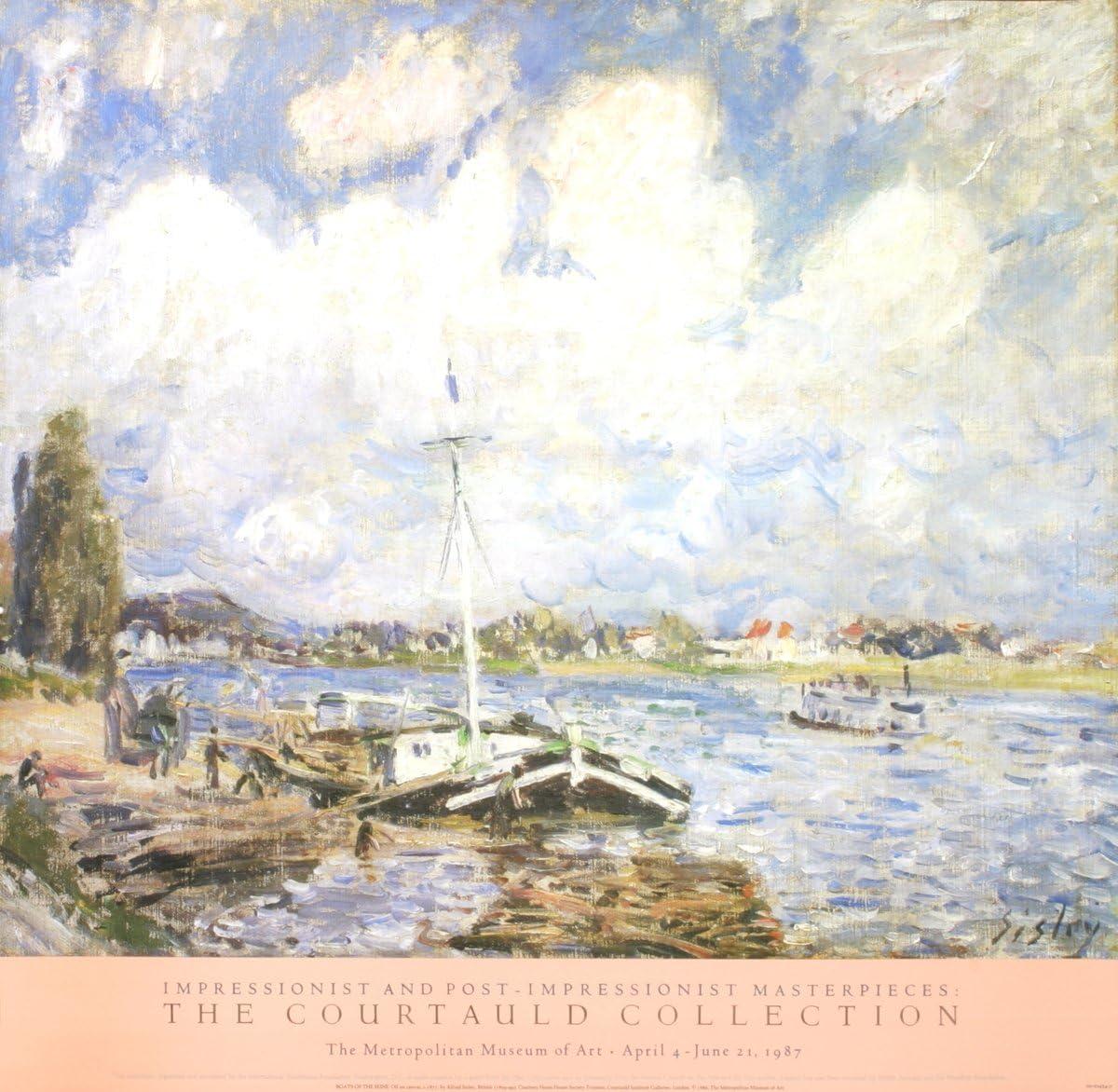 Póster de Alfred Sisley Boats of the Seine de 76,2 x 31