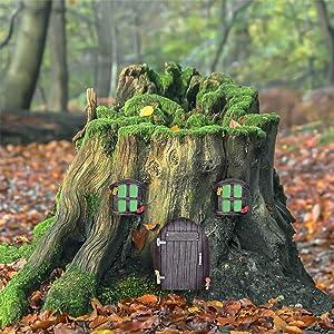 Jacriah Miniature Fairy elf Home Door and Windows,Glow in Dark Fairies Sleeping Door and Windows,Tree Hugger Yard Lawn Ornament Art Décor.
