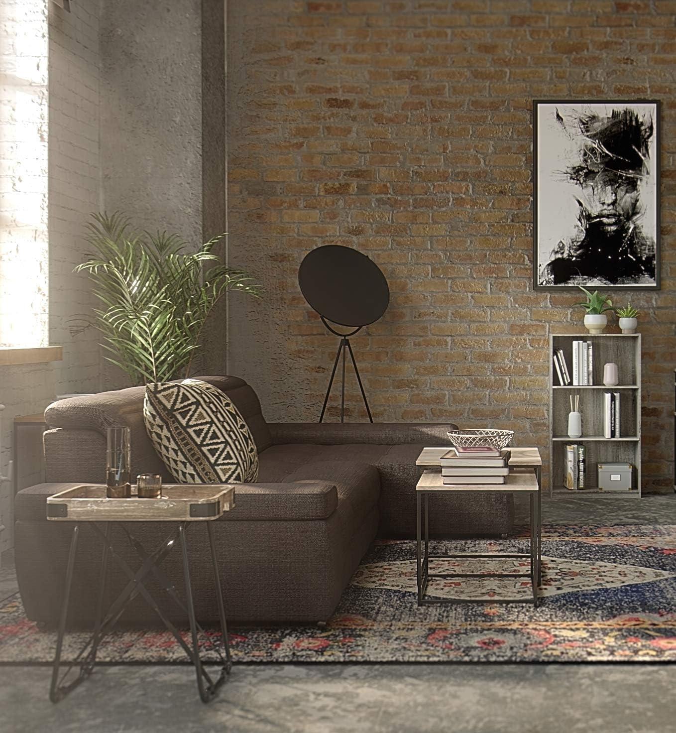 Furinno Bookcases, Wood, French Oak Grey/Black, one size French Oak Grey
