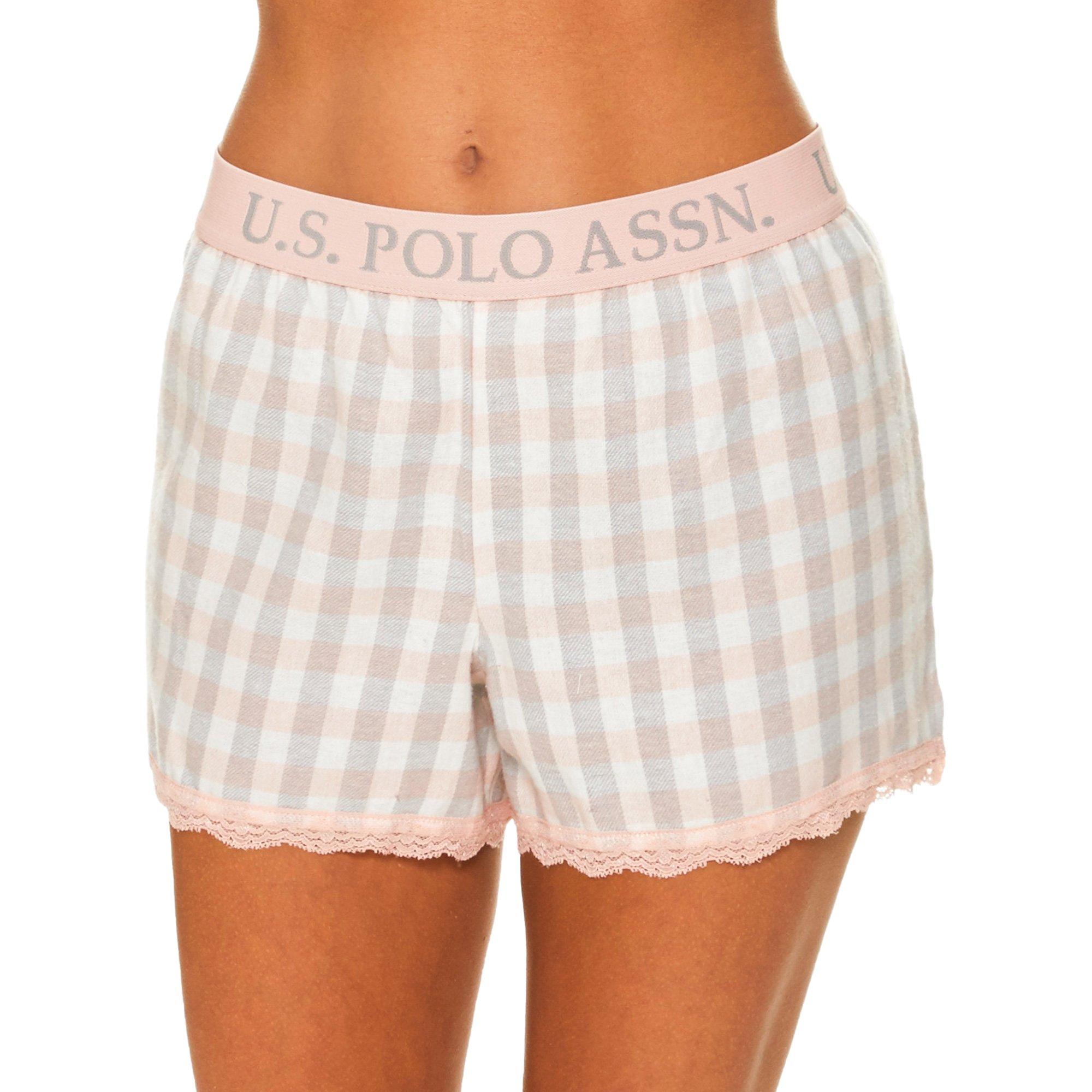 U.S. Polo Assn.. Womens Plaid Flannel Pajama Lounge Shorts with Lace Trim Light Peach Large