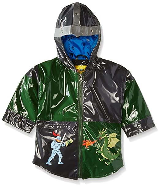 aa7a83625 Kidorable Dragon Knight Grey/Green PU All-Weather Raincoat for Boys with  Fun Knight's