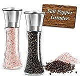Molinillo de Sal y Pimienta ,Molino manual de Sal y moledor Pimienta y especias con precisión de grosor ajustable acero Inoxi