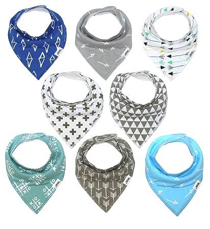 Boys Girls Unisex Bandana Bibs Dribble Bibs Grey Heart Design