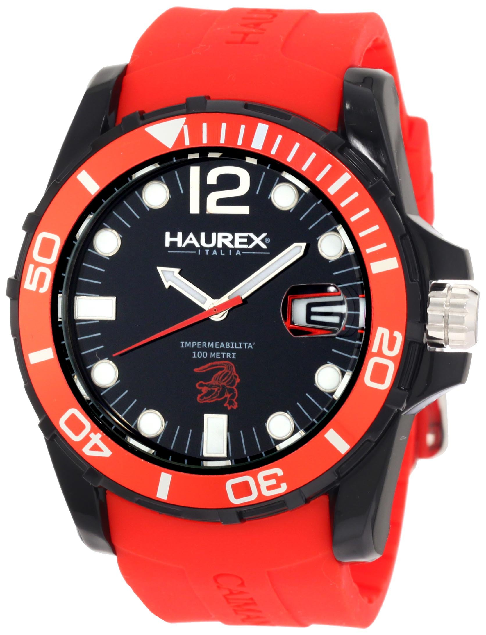 Haurex Italy Men's N1354UNR Caimano Date Black Dial Rubber Sport Watch