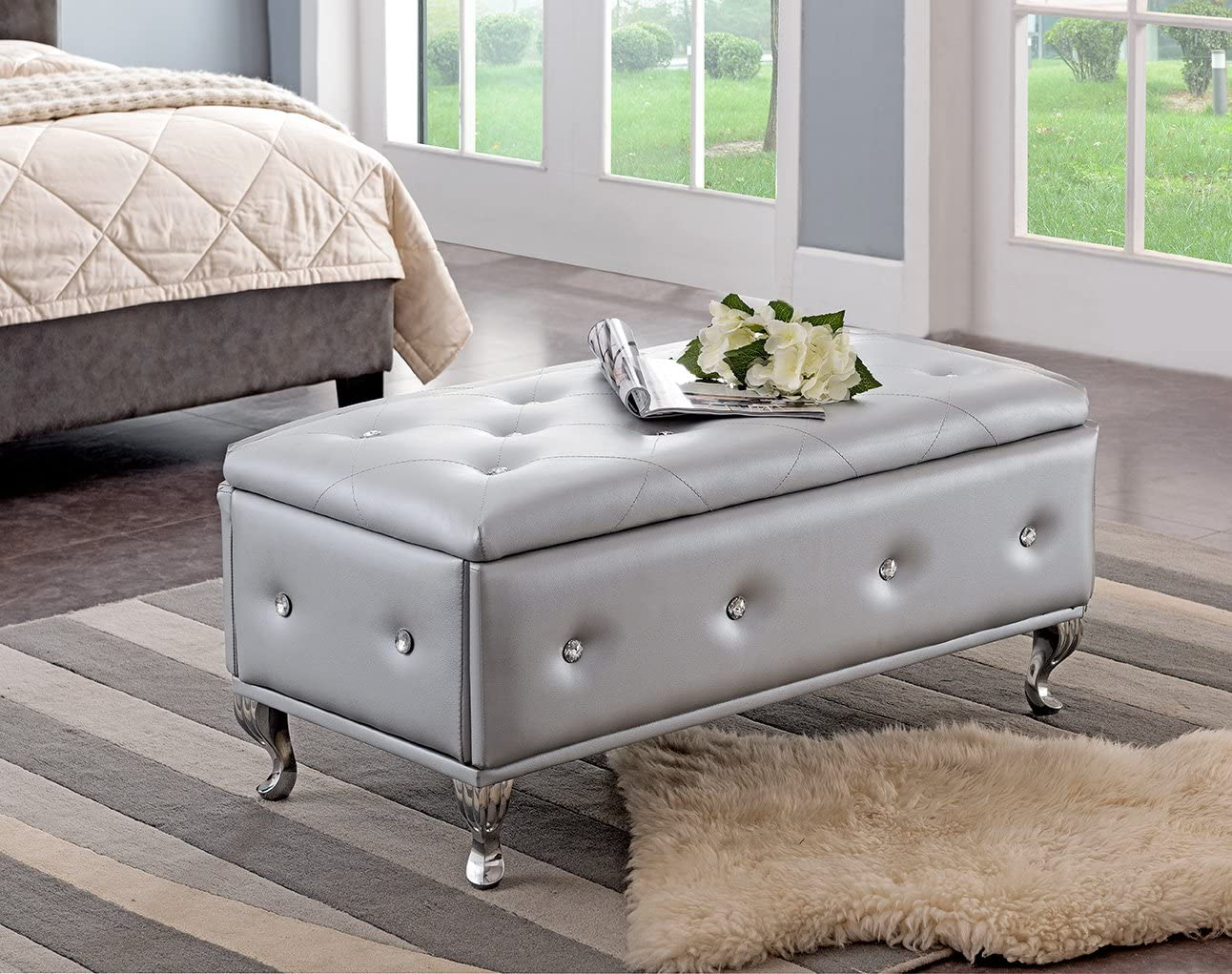 Kings Brand Furniture Silver Vinyl Tufted Design Upholstered Storage Bench Ottoman
