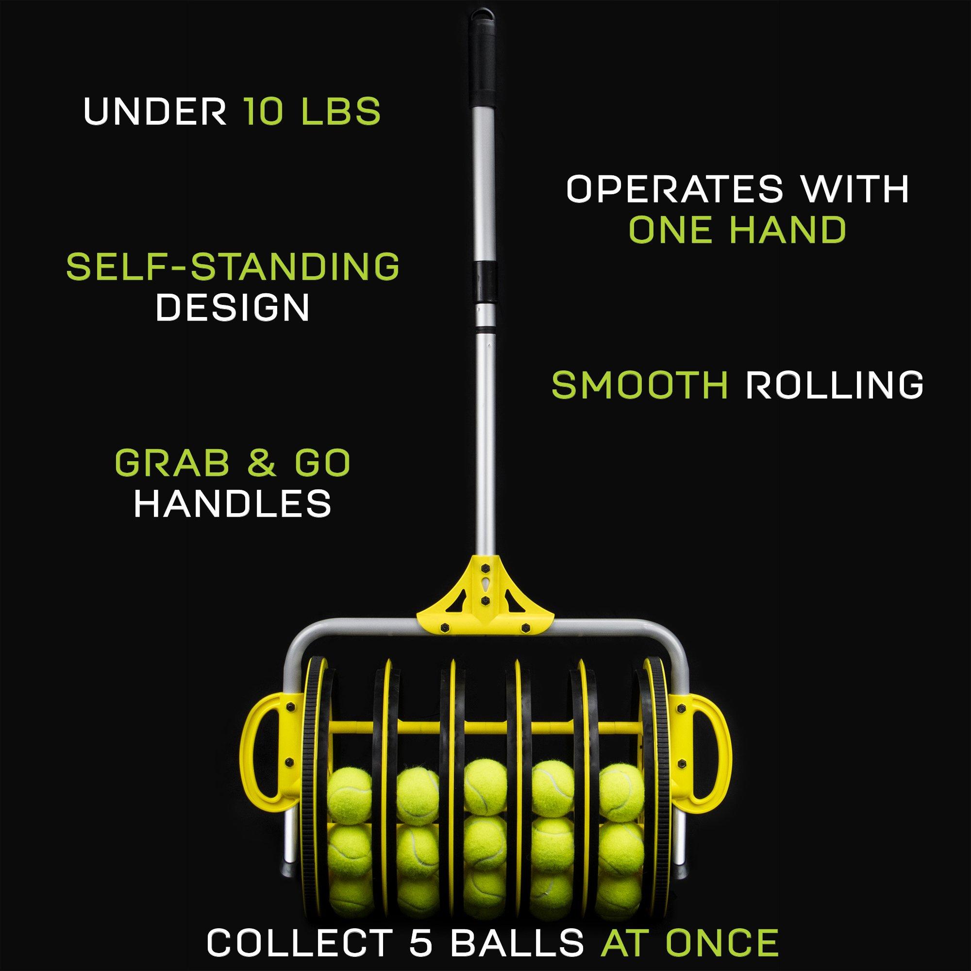 Deluxe Roller Tennis Ball Collector - Includes 25 Bonus Practice Balls! by Crown (Image #5)