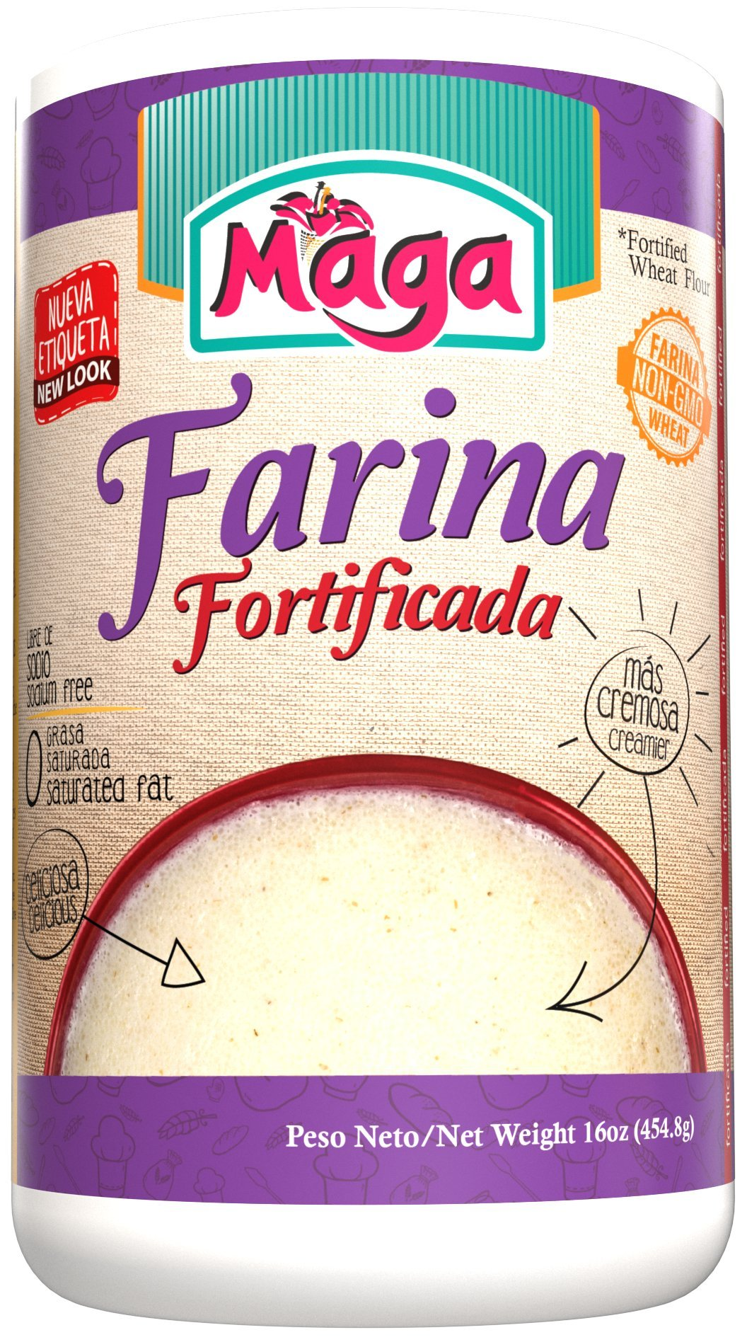 FARINA Fortificada (Fortified Cream of Wheat) by Maga Foods Puerto Rico - 12 Oz (Count of 2) by Maga Foods