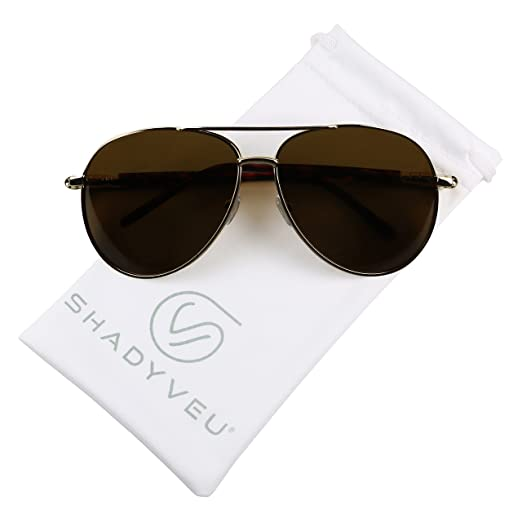 382e4ed838 ShadyVEU - Polarized XL Over Size Wide Metal Double Brow Bar Aviator Pilot  Sunglasses (Gold