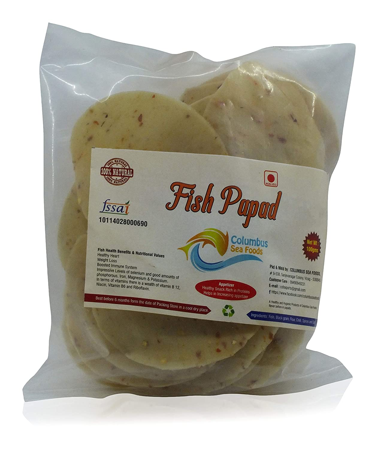 COLUMBUS SEA FOODS Fish Papad, 100 Grams: Amazon in: Grocery