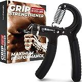 Grip Strength Trainer (Adjustable), Hand Grip Strengthener, Forearm Exerciser, Finger Strengthener Trainer (11 to 132 LB…