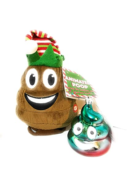 23308afef24ea Image Unavailable. Image not available for. Color  Plush Holiday Dancing  Farting Emoji Poop in Santa Hat with Emoji Poop Christmas Ornament