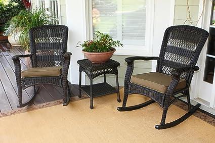Lovely Tortuga Outdoor Plantation Rocking Chair Set   Dark Roast PSR2 P DR