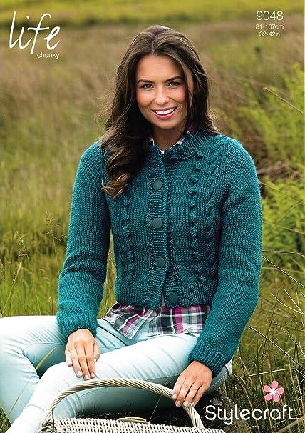 61fdf647fe193f Stylecraft 9048 Knitting Pattern Ladies Cardigan in Life Chunky   Amazon.co.uk  Kitchen   Home