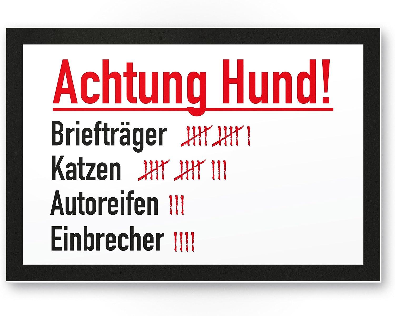 Warnschild Abschreckung//Einbruchschutz Hinweisschild Gartentor//Gartenzaun T/ürschild Haust/üre - Hunde Kunststoff Schild rot Vorsicht bissiger Hund Achtung//Vorsicht Hund