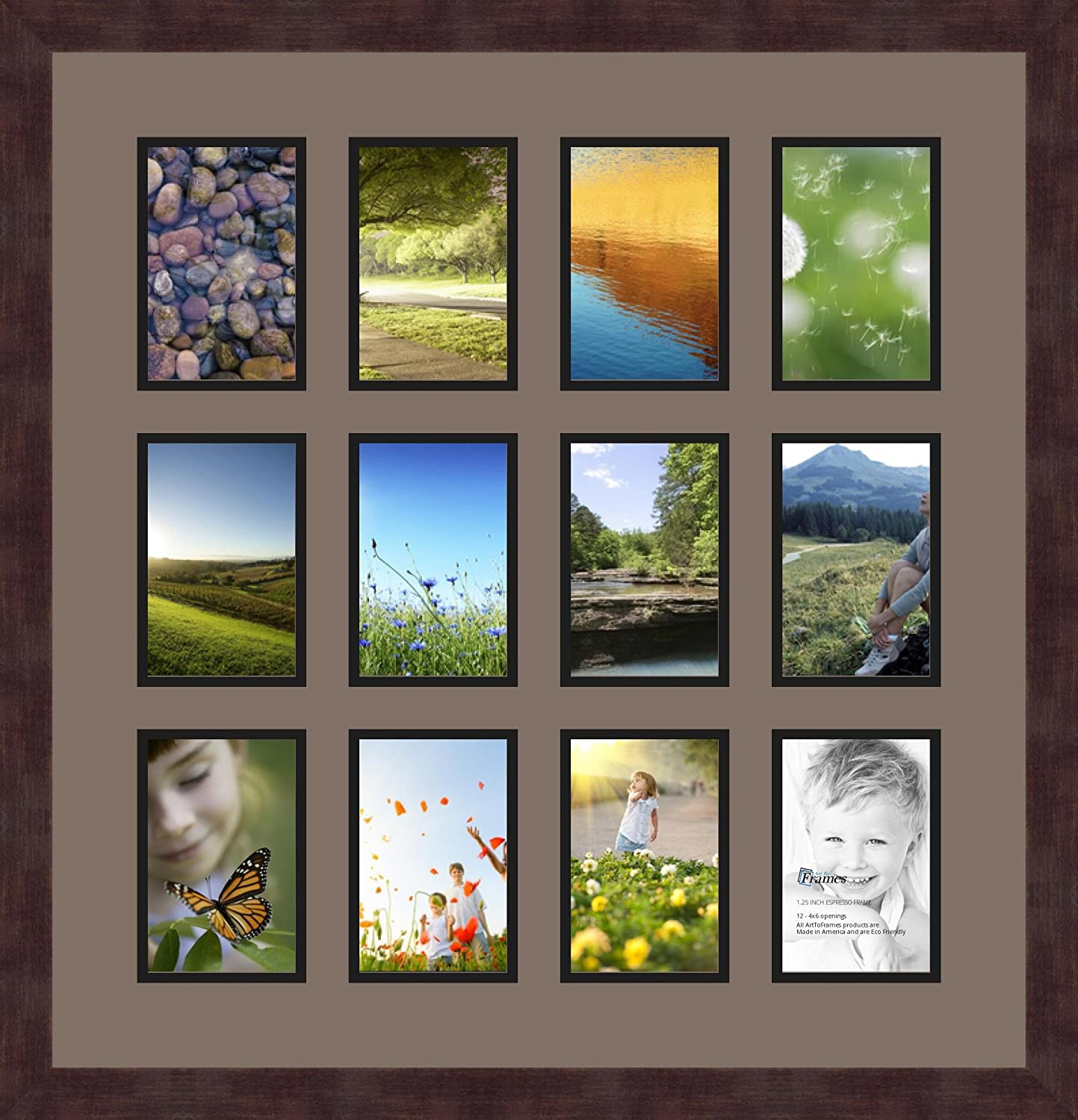 Art to Frames Double-Multimat-228-748//89-FRBW26061 Collage Frame Photo Mat Double Mat with 12-4x6 Openings and Espresso Frame
