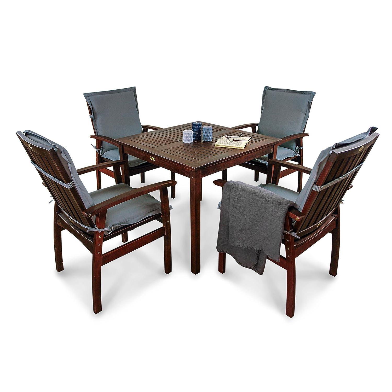 indoba® IND-70080-PRSE5Q + IND-70421-AUNL - Serie Provence - Gartenmöbel Set 9-teilig aus Holz FSC zertifiziert - 4 Gartenstühle + quadratischer Gartentisch + 4 Premium Sitzauflagen grau