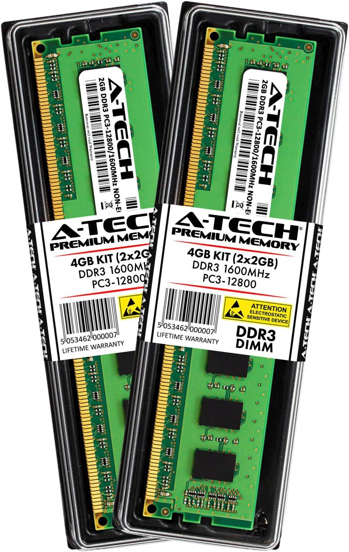 A-Tech 4GB DDR3 Desktop RAM Kit - (2 x 2GB) DDR3 1600MHz PC3-12800 240-Pin Non-ECC DIMM Memory Modules