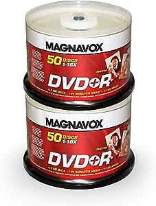 Magnavox 100-disc DVD+R 16x Logo Top (2 x 50pk Spindle)