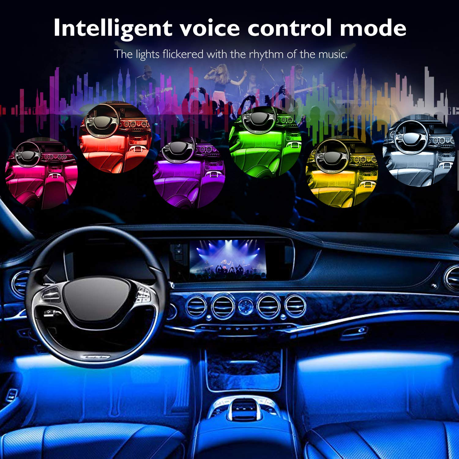 DC 12V 4 Pack Car LED Lights 48 LEDs Music Under Dash Car Lighting Kits with Sound Active Function and Remote Control Multicolor LED Car Lights with Car Charger Interior Car Lights