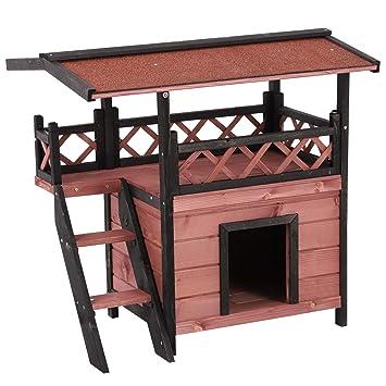 Casa de manera para gato Pawhut, para exteriores, madera de ...