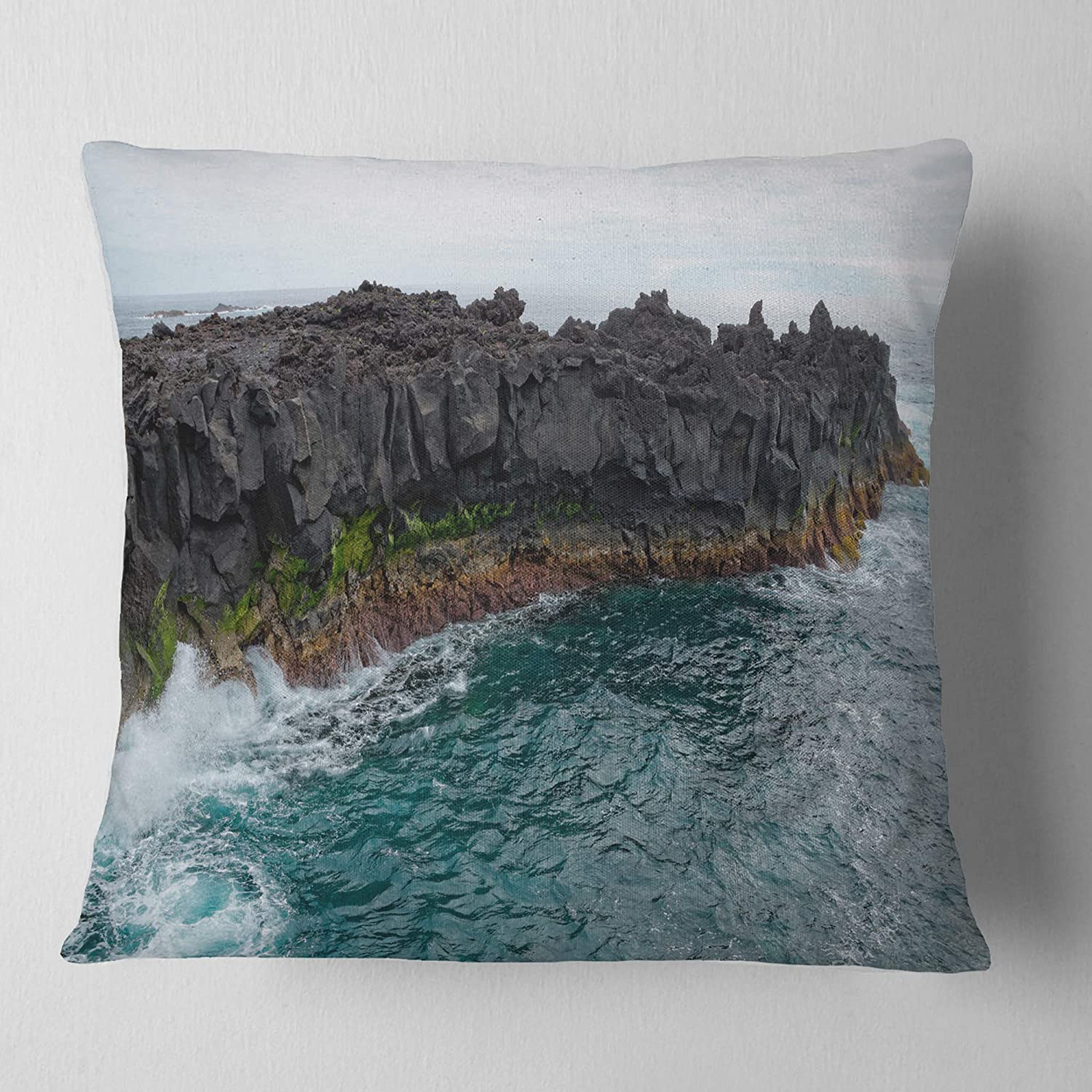x 18 in Insert Printed On Both Side Designart CU11162-18-18 Rocky Coast with Moss in Azores Seashore Cushion Cover for Living Room Sofa Throw Pillow 18 in in