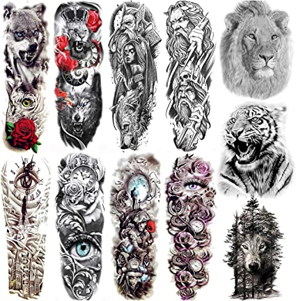 COKTAK 11 Hojas Full Brazo Completo Tatuajes Temporales Adultos Mujer Manga Cuerpo Guerrero Grandes Falso Tatuaje Temporal Pegatinas Negro Tribales Lobo León Tigre Tótem Tatuaje Hombre Pierna Animales: Amazon.es: Belleza