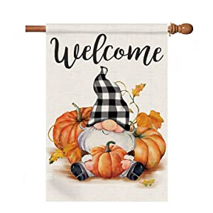 Kamalove Gnome Welcome Fall Garden Flag 28×40 Double Sided, Pumpkin Autumn House Flag, Large Fall Flag for Outside Yard Outdoor, Burlap Buffalo Plaid Check Farmhouse Thanksgiving Garden Porch Decor