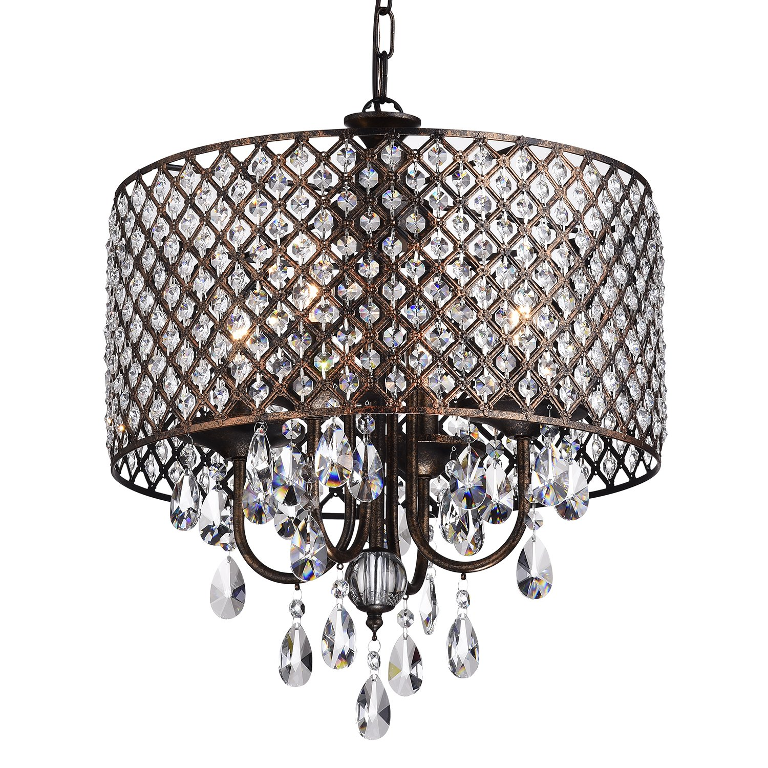Mariella Antique Copper Round Drum Shade 4-light Crystal Chandelier Ceiling  Fixture - - Amazon.com - Mariella Antique Copper Round Drum Shade 4-light Crystal Chandelier