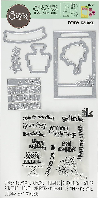 Celebrate Sizzix Framelits Die /& Stamp Set By Lynda Kanase-Photo Frame