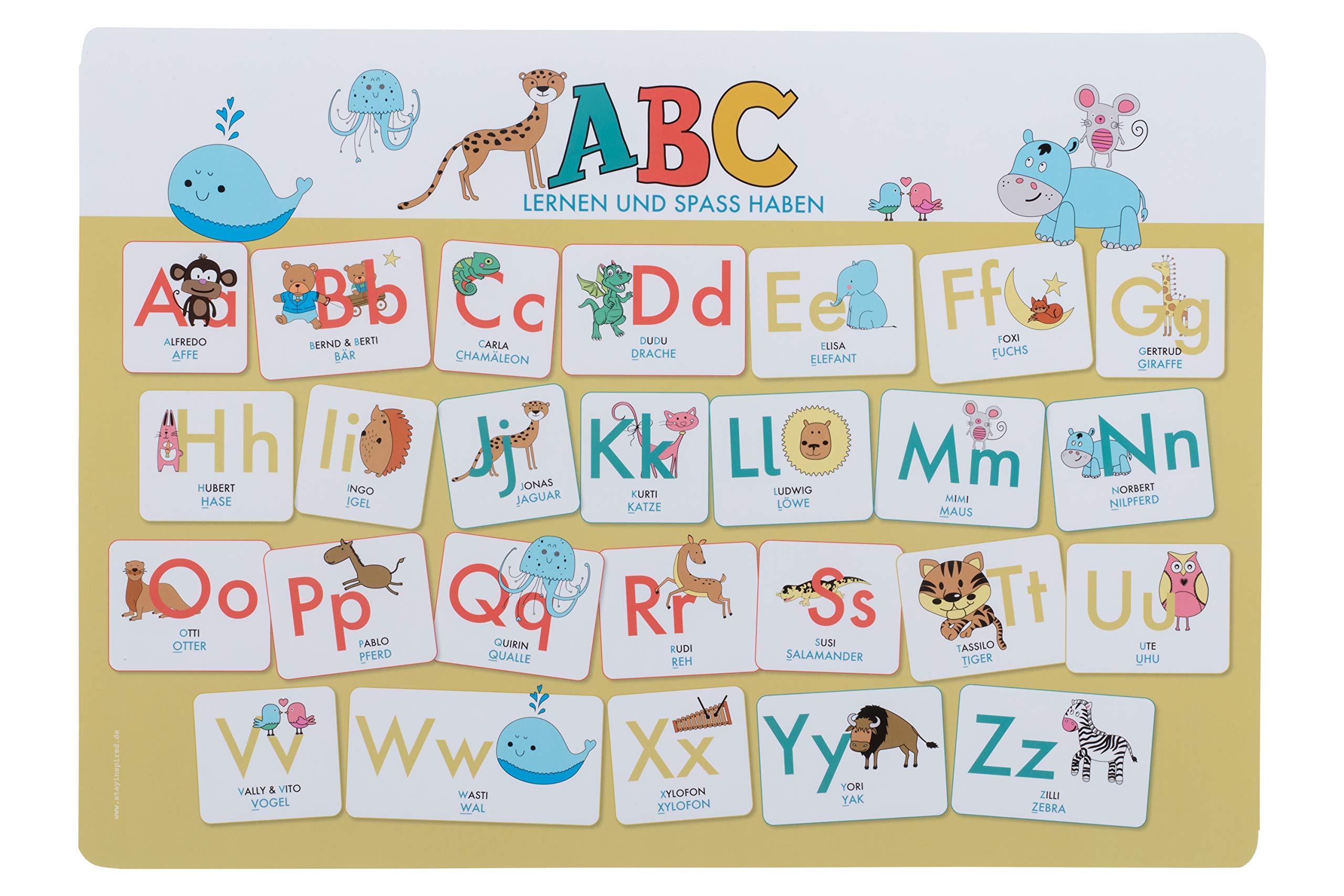 Hochwertiges ABC Mini Lernposter der Tiere 20,20 x 205,20 cm ...