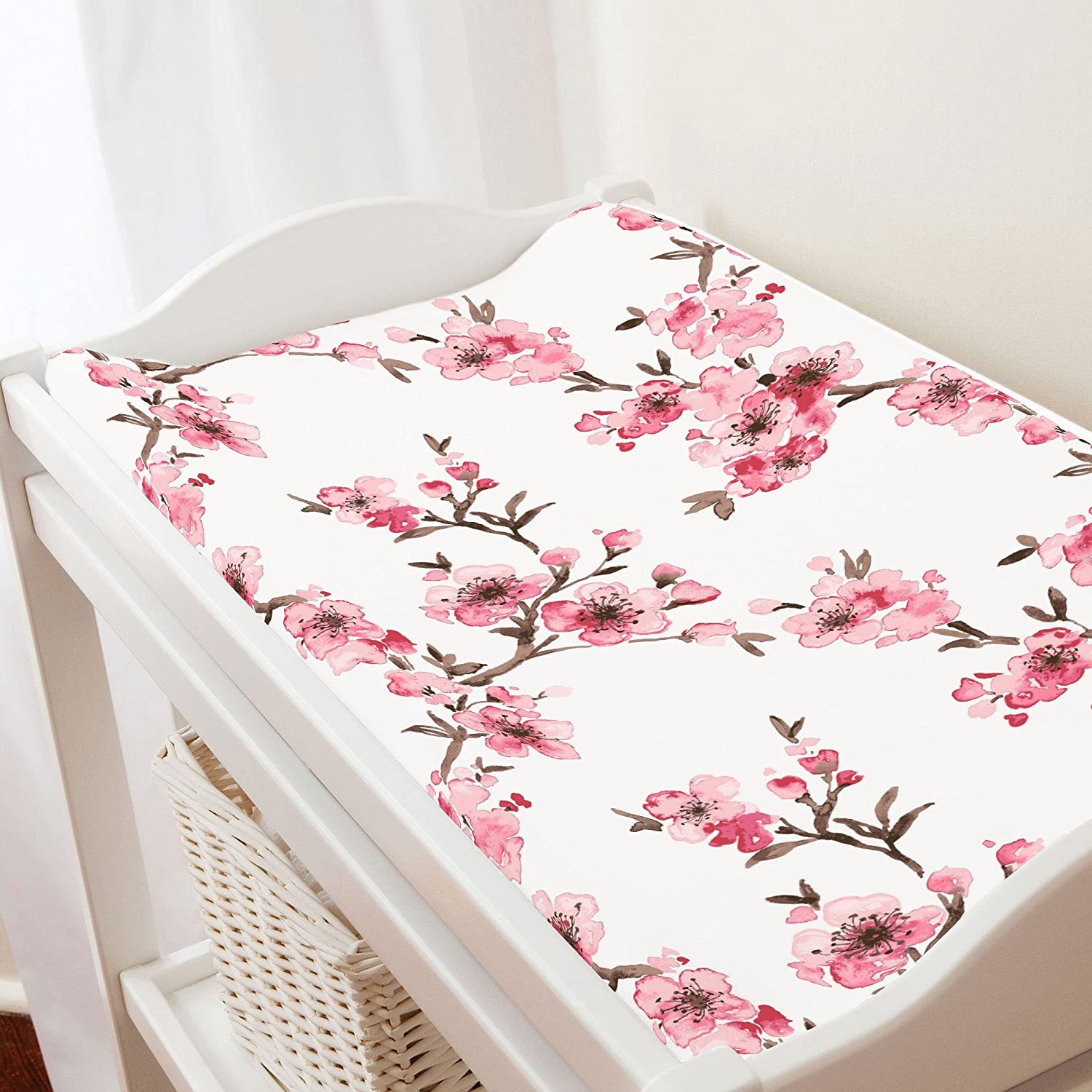 Carousel Designs Pink Cherry Blossom Changing Pad Cover - Organic 100% Cotton Change Pad Cover - Made in The USA
