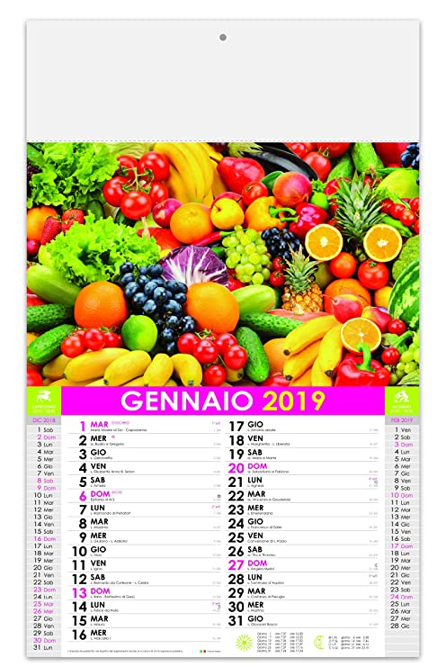 Calendario Frutta E Verdura Di Stagione.Calendario Mensile Frutta E Verdura 2019 Amazon It