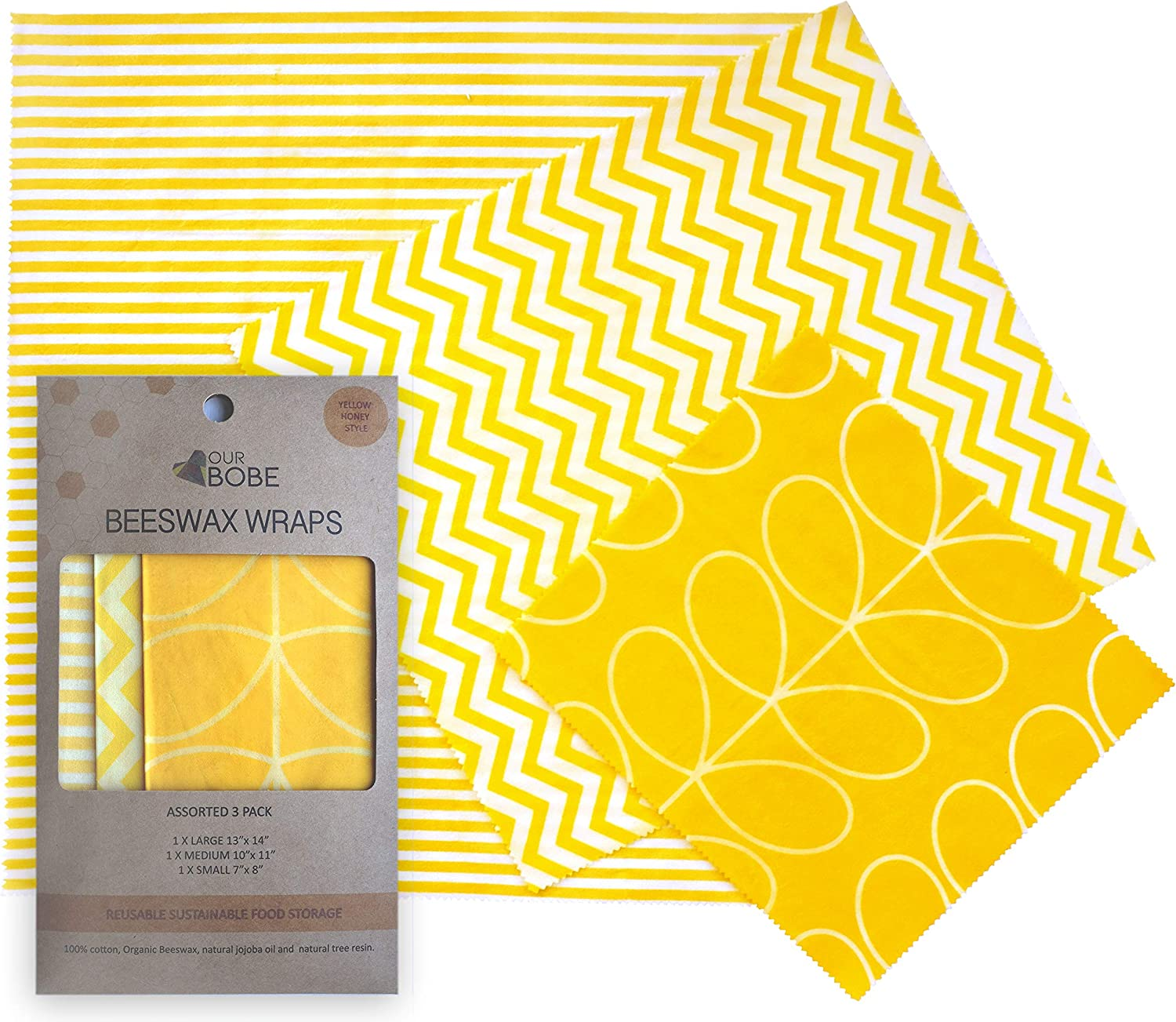 Ourbobe Beeswax Food Wrap Organic and Reusable | Assorted 3-Pack: Small, Medium, and Large | Eco Friendly Zero Waste Food Storage | A Sustainable Plastic Wrap Alternative.