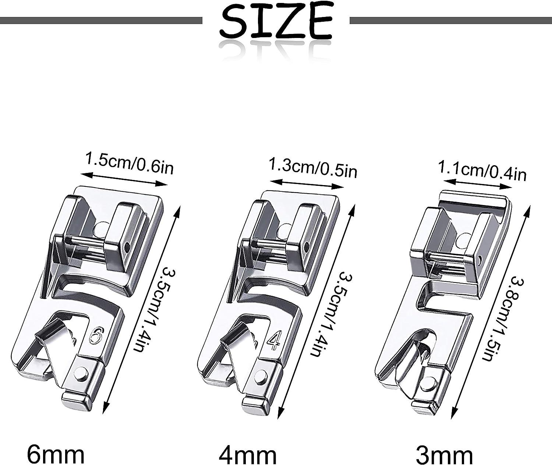 ISIYINER Piedino per Macchina Acciaio Inossidabile Kit di Piedini Premistoffa per Macchine da Cucire Multifunzione per Uso Domestico 3 mm 4 mm 6 mm