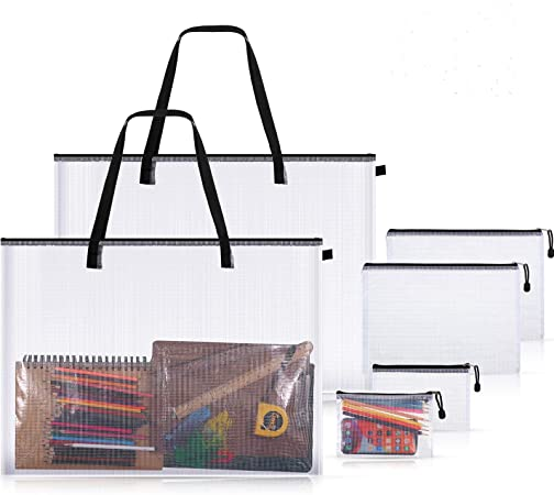 2 Pieces Art Portfolio Bags Poster Storage Bag with Handle Zipper, and 4 Pieces PVC File Document Bag Mesh Zipper Pouch for Artwork, Large Posters, Pens, Stationery and More, Clear (Black)