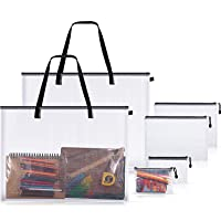 2 Pieces Art Portfolio Bags Poster Storage Bag with Handle Zipper, and 4 Pieces PVC File Document Bag Mesh Zipper Pouch…